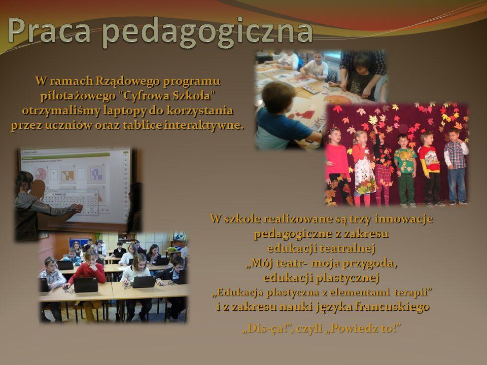 W ramach Rządowego programu pilotażowego Cyfrowa Szkoła otrzymaliśmy laptopy do korzystania przez uczniów oraz tablice interaktywne.