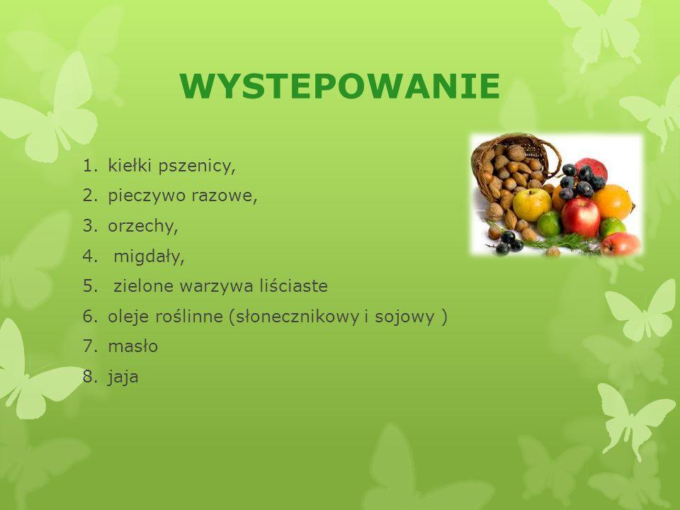 WYSTEPOWANIE 1.kiełki pszenicy, 2.pieczywo razowe, 3.orzechy, 4.