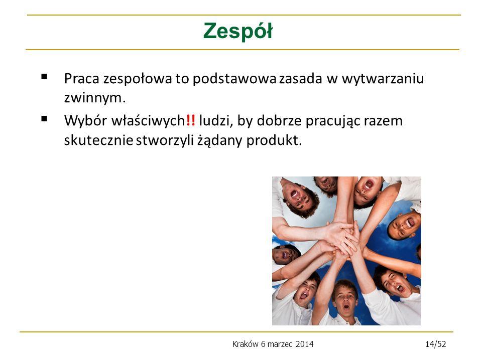 Kraków 6 marzec 201414/52 Zespół Praca zespołowa to podstawowa zasada w wytwarzaniu zwinnym.