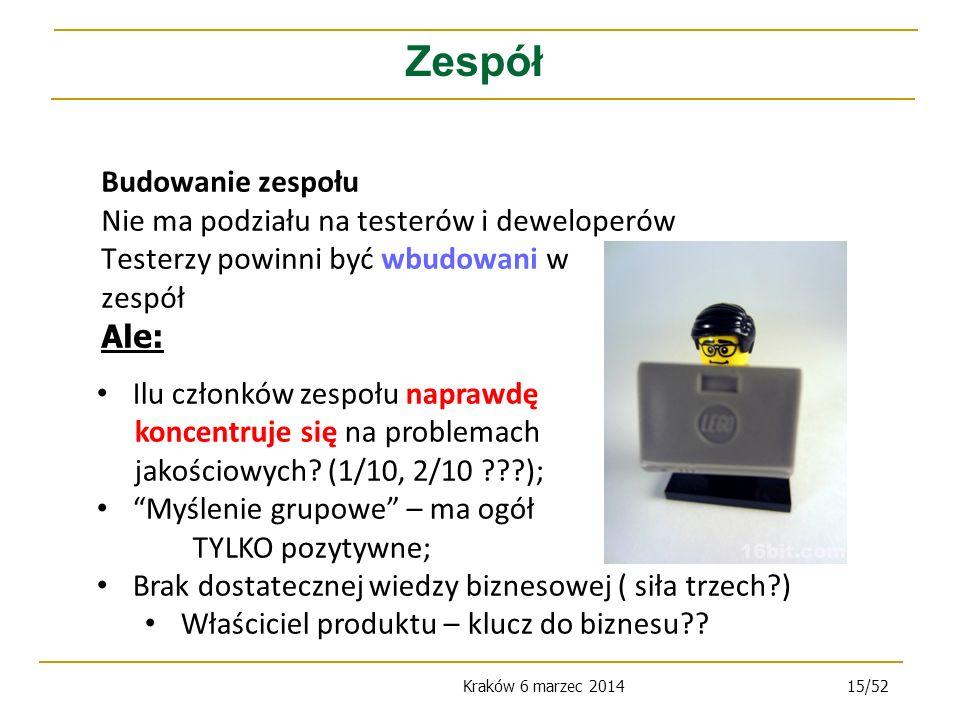 Kraków 6 marzec 201415/52 Budowanie zespołu Nie ma podziału na testerów i deweloperów Testerzy powinni być wbudowani w zespół Ale: Zespół Ilu członków zespołu naprawdę koncentruje się na problemach jakościowych.