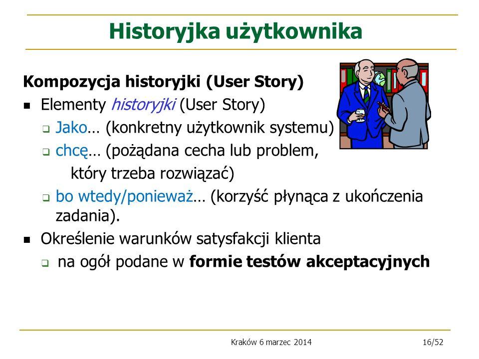 Kraków 6 marzec 201416/52 Kompozycja historyjki (User Story) Elementy historyjki (User Story) Jako… (konkretny użytkownik systemu) chcę… (pożądana cecha lub problem, który trzeba rozwiązać) bo wtedy/ponieważ… (korzyść płynąca z ukończenia zadania).