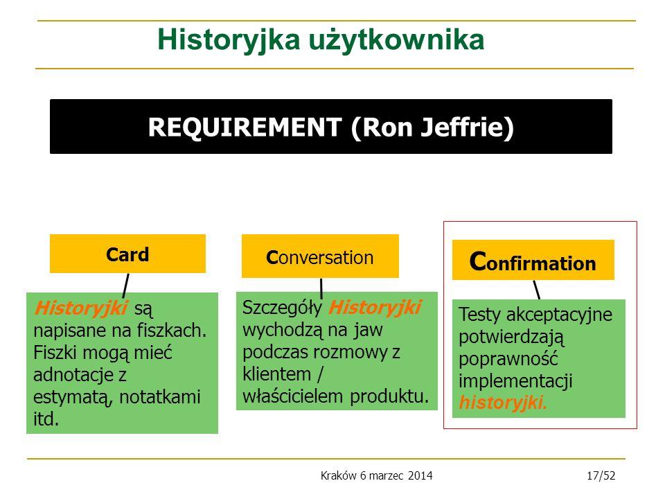Kraków 6 marzec 201417/52 Card Conversation C onfirmation Historyjki są napisane na fiszkach.