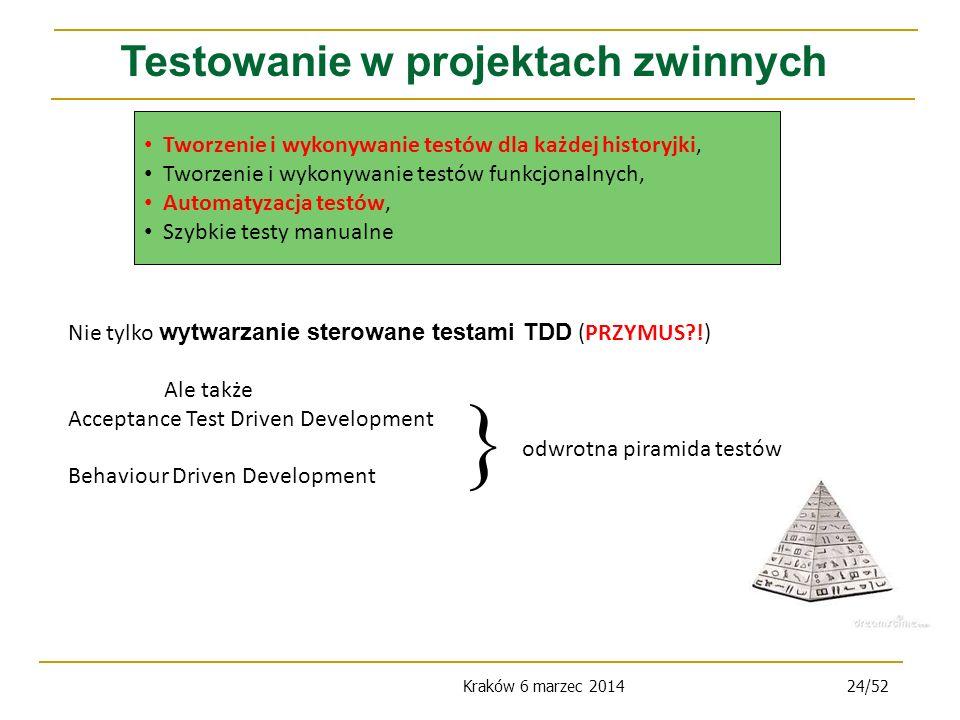 Kraków 6 marzec 201424/52 Testowanie w projektach zwinnych Nie tylko wytwarzanie sterowane testami TDD (PRZYMUS?!) Ale także Acceptance Test Driven Development Behaviour Driven Development odwrotna piramida testów Tworzenie i wykonywanie testów dla każdej historyjki, Tworzenie i wykonywanie testów funkcjonalnych, Automatyzacja testów, Szybkie testy manualne