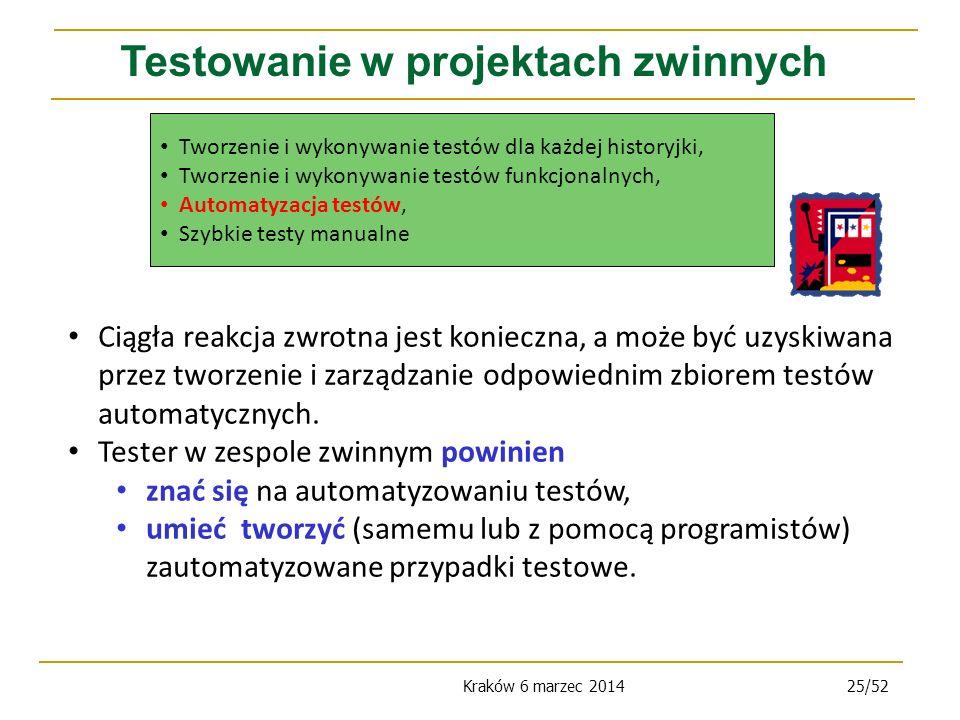 Kraków 6 marzec 201425/52 Testowanie w projektach zwinnych Ciągła reakcja zwrotna jest konieczna, a może być uzyskiwana przez tworzenie i zarządzanie odpowiednim zbiorem testów automatycznych.