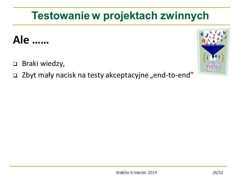 Kraków 6 marzec 201426/52 Ale …… Braki wiedzy, Zbyt mały nacisk na testy akceptacyjne end-to-end Testowanie w projektach zwinnych
