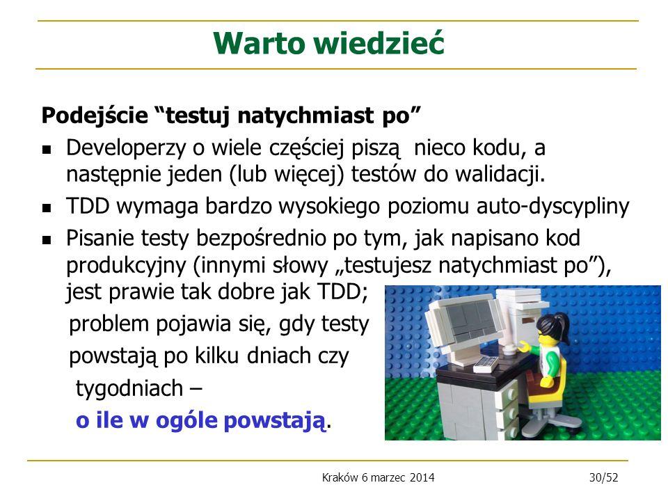 Kraków 6 marzec 201430/52 Podejście testuj natychmiast po Developerzy o wiele częściej piszą nieco kodu, a następnie jeden (lub więcej) testów do walidacji.