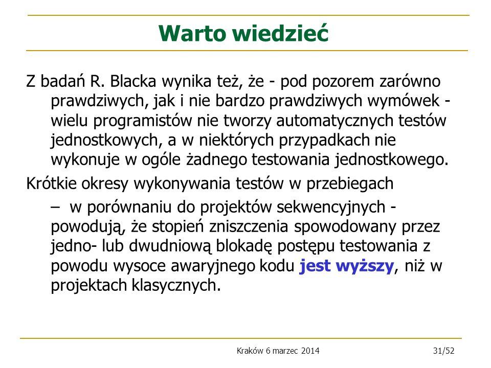 Kraków 6 marzec 201431/52 Z badań R.