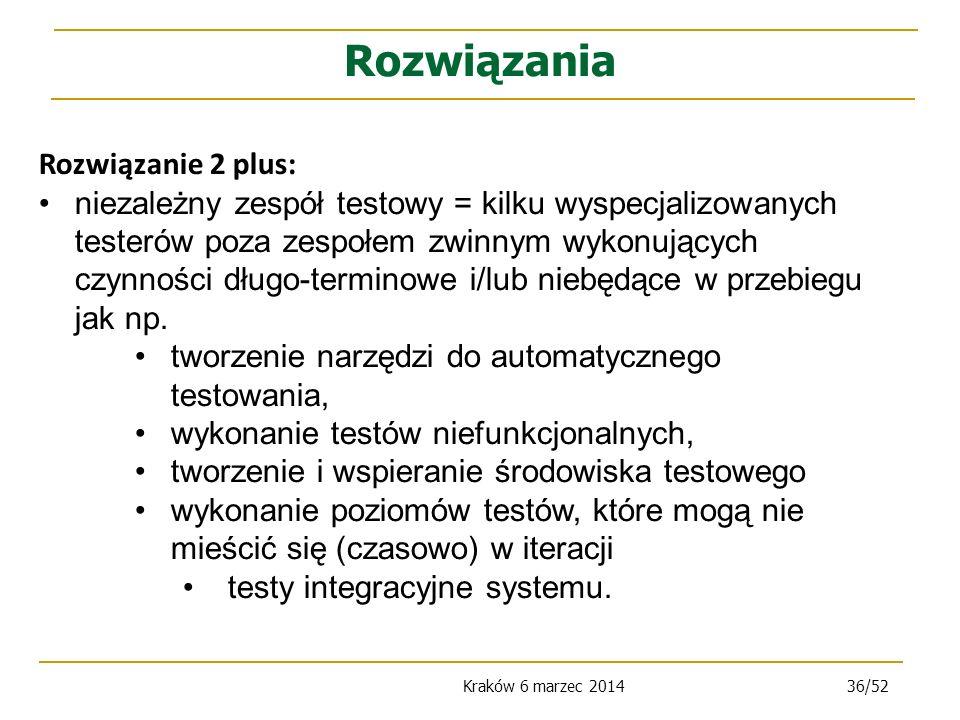 Kraków 6 marzec 201436/52 Rozwiązanie 2 plus: niezależny zespół testowy = kilku wyspecjalizowanych testerów poza zespołem zwinnym wykonujących czynności długo-terminowe i/lub niebędące w przebiegu jak np.