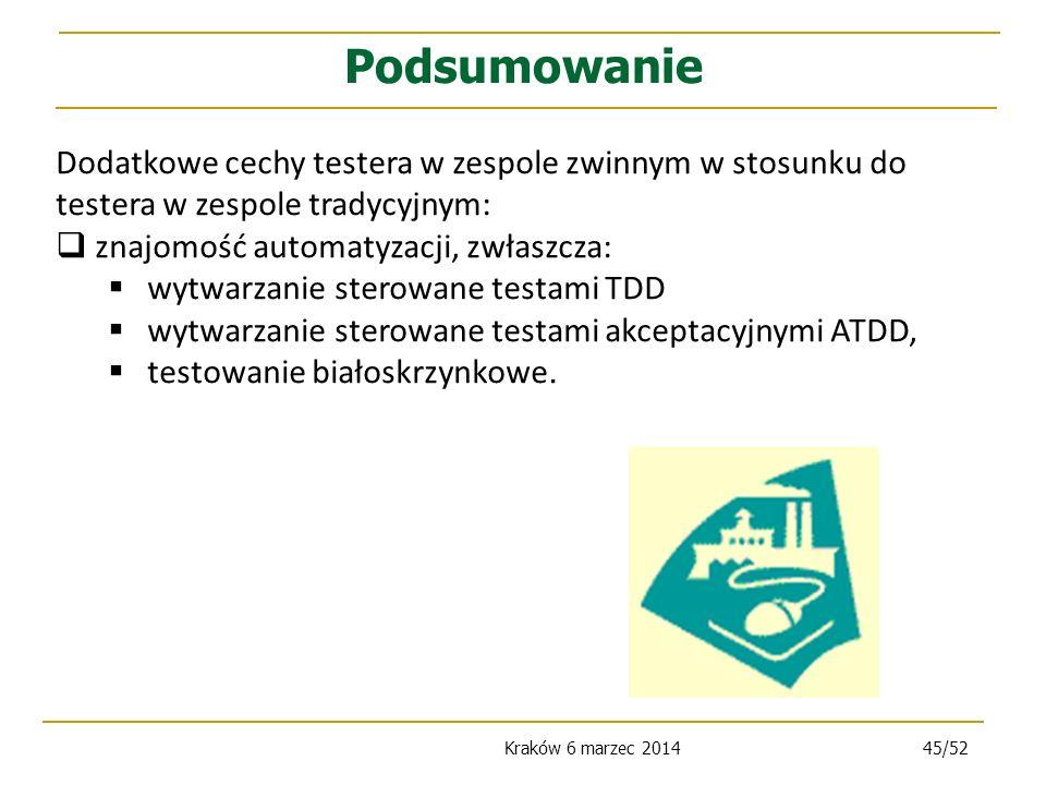 Kraków 6 marzec 201445/52 Dodatkowe cechy testera w zespole zwinnym w stosunku do testera w zespole tradycyjnym: znajomość automatyzacji, zwłaszcza: wytwarzanie sterowane testami TDD wytwarzanie sterowane testami akceptacyjnymi ATDD, testowanie białoskrzynkowe.