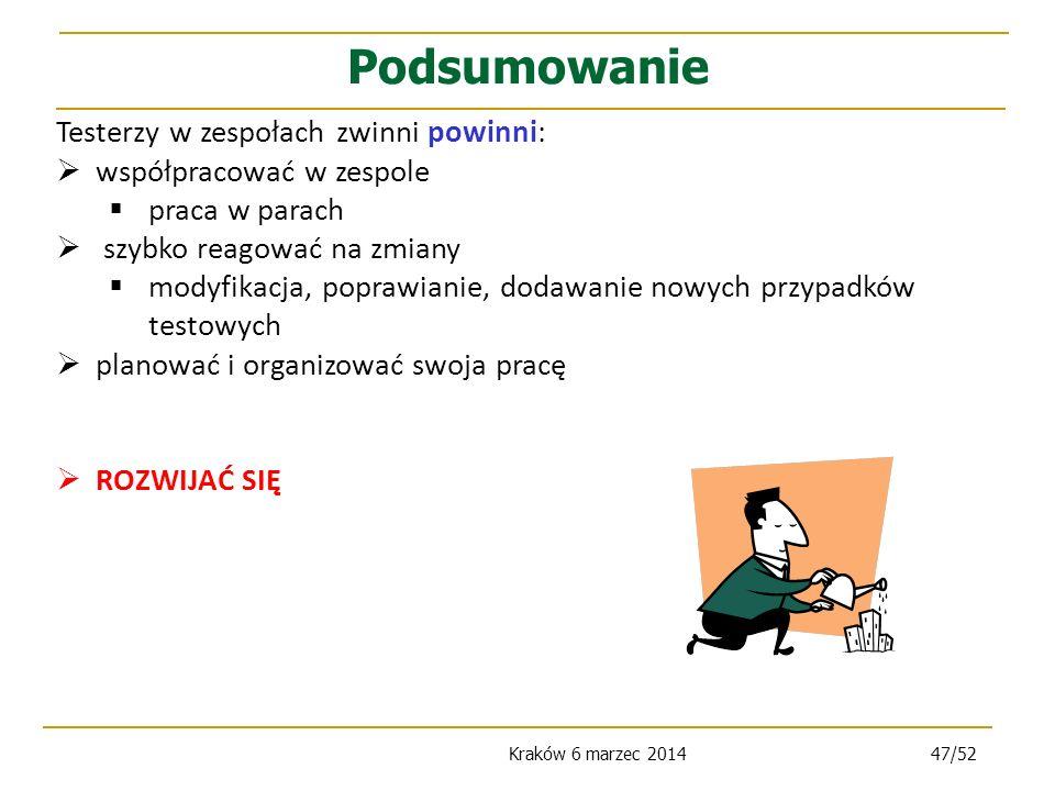 Kraków 6 marzec 201447/52 Testerzy w zespołach zwinni powinni: współpracować w zespole praca w parach szybko reagować na zmiany modyfikacja, poprawianie, dodawanie nowych przypadków testowych planować i organizować swoja pracę ROZWIJAĆ SIĘ Podsumowanie