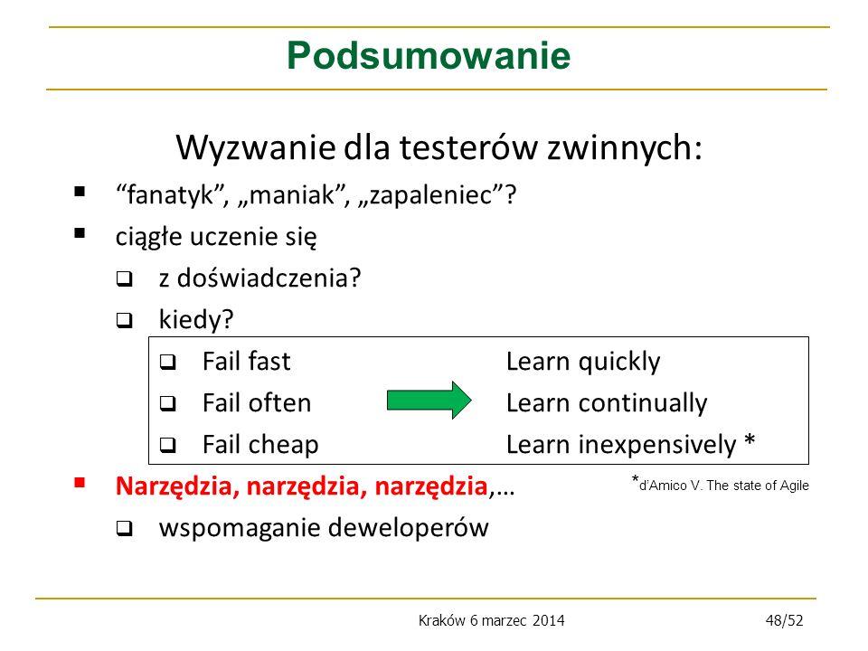 Kraków 6 marzec 201448/52 Podsumowanie Wyzwanie dla testerów zwinnych: fanatyk, maniak, zapaleniec.