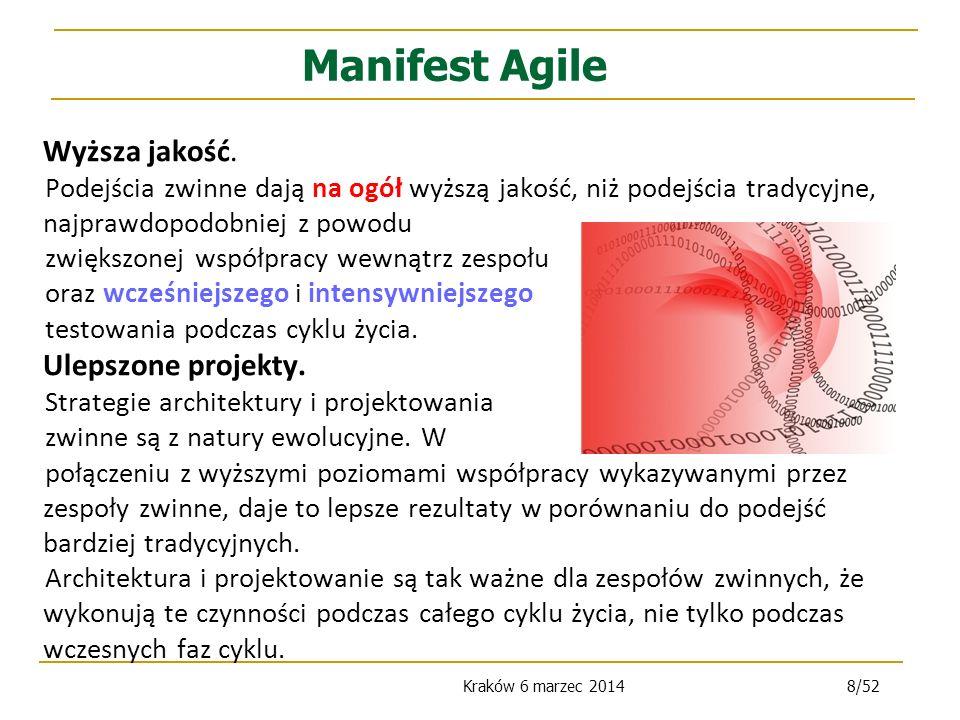 Kraków 6 marzec 201439/52 PODEJŚCIE ZWINNE == SUKCES?? PYTANIE