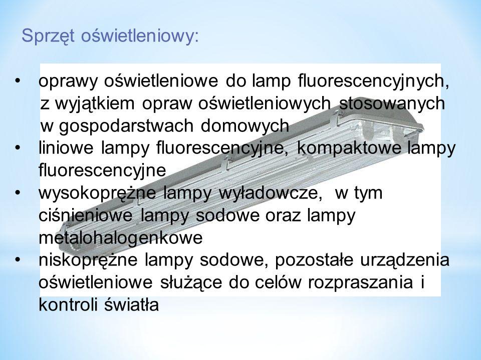 Sprzęt oświetleniowy: oprawy oświetleniowe do lamp fluorescencyjnych, z wyjątkiem opraw oświetleniowych stosowanych w gospodarstwach domowych liniowe lampy fluorescencyjne, kompaktowe lampy fluorescencyjne wysokoprężne lampy wyładowcze, w tym ciśnieniowe lampy sodowe oraz lampy metalohalogenkowe niskoprężne lampy sodowe, pozostałe urządzenia oświetleniowe służące do celów rozpraszania i kontroli światła