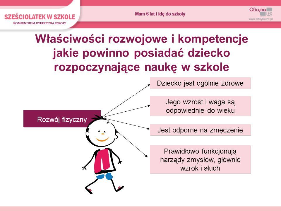 Właściwości rozwojowe i kompetencje jakie powinno posiadać dziecko rozpoczynające naukę w szkole Rozwój fizyczny Dziecko jest ogólnie zdrowe Jego wzro