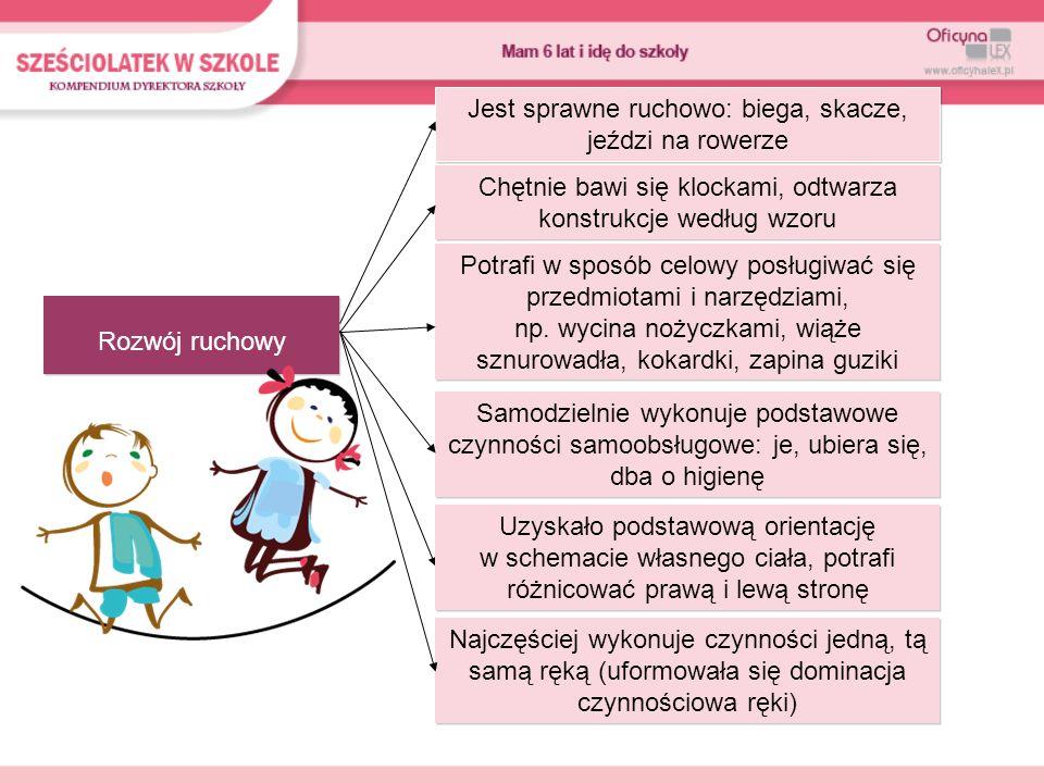 Rozwój poznawczy Dziecko jest spostrzegawcze, zauważa istotne elementy przedmiotów, wskazuje braki w obrazkach Ma zasób wiadomości umożliwiający orientację w najbliższym otoczeniu, potrafi np.