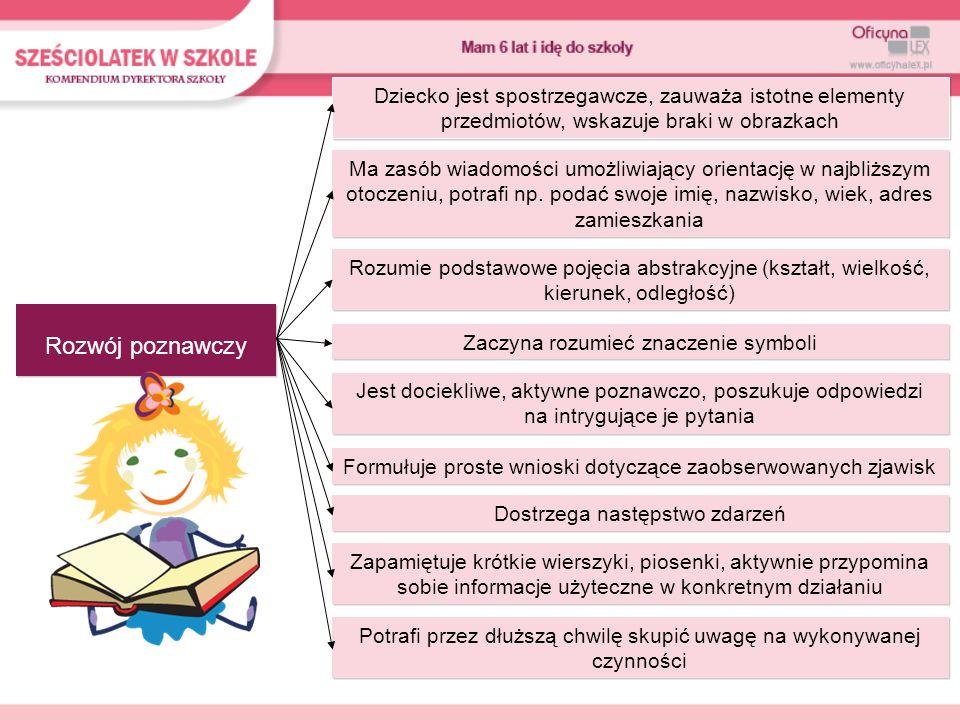Rozwój poznawczy Dziecko jest spostrzegawcze, zauważa istotne elementy przedmiotów, wskazuje braki w obrazkach Ma zasób wiadomości umożliwiający orien