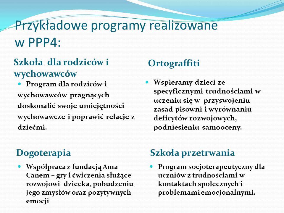 Przykładowe programy realizowane w PPP4: Szkoła dla rodziców i wychowawców Program dla rodziców i wychowawców pragnących doskonalić swoje umiejętności