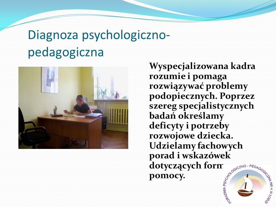 Diagnoza psychologiczno- pedagogiczna Wyspecjalizowana kadra rozumie i pomaga rozwiązywać problemy podopiecznych. Poprzez szereg specjalistycznych bad