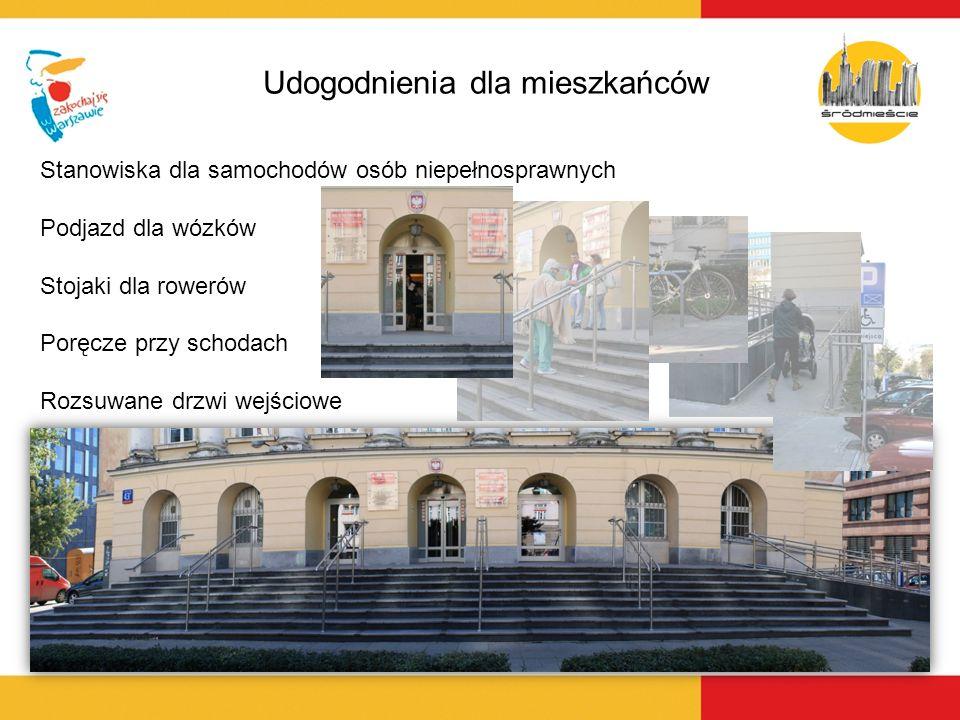 Udogodnienia dla mieszkańców Stanowiska dla samochodów osób niepełnosprawnych Podjazd dla wózków Stojaki dla rowerów Poręcze przy schodach Rozsuwane d