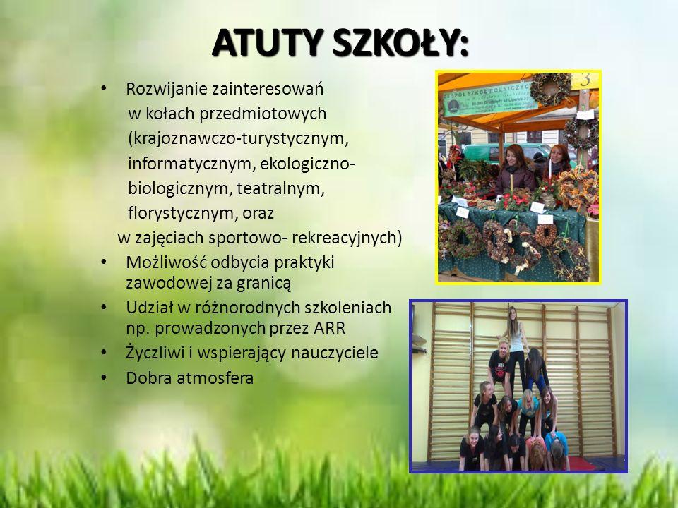ATUTY SZKOŁY: Rozwijanie zainteresowań w kołach przedmiotowych (krajoznawczo-turystycznym, informatycznym, ekologiczno- biologicznym, teatralnym, flor