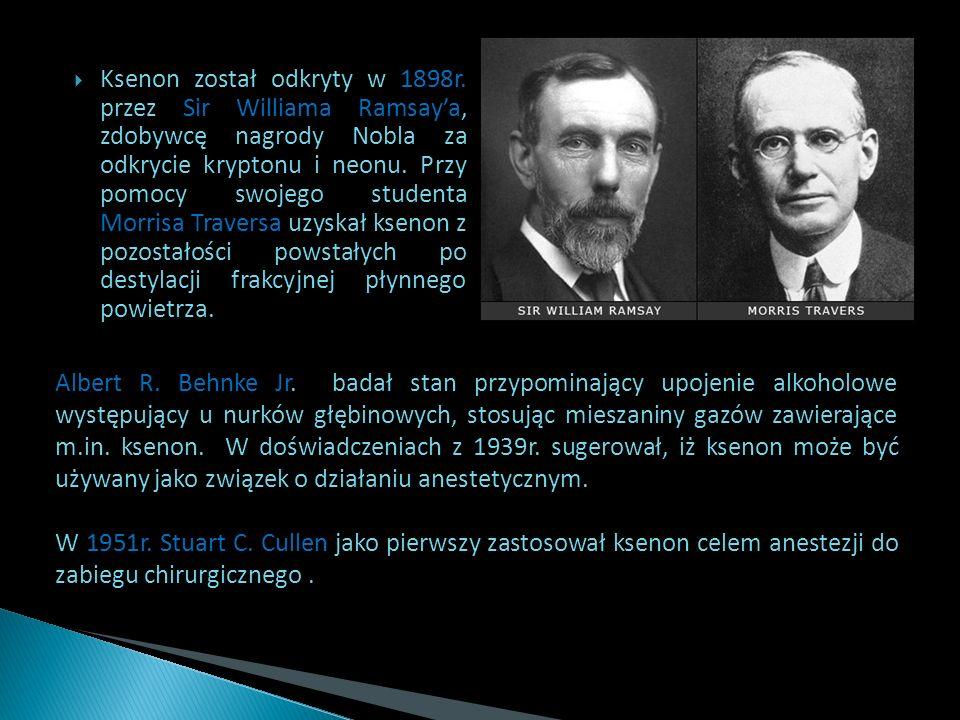 Ksenon został odkryty w 1898r. przez Sir Williama Ramsaya, zdobywcę nagrody Nobla za odkrycie kryptonu i neonu. Przy pomocy swojego studenta Morrisa T