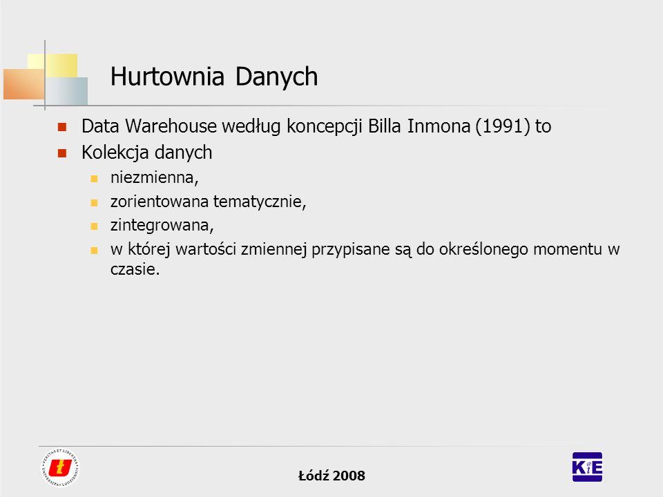 Łódź 2008 Hurtownia Danych Data Warehouse według koncepcji Billa Inmona (1991) to Kolekcja danych niezmienna, zorientowana tematycznie, zintegrowana,