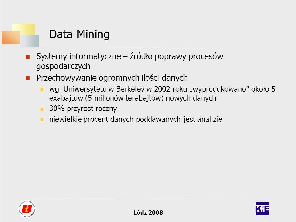 Łódź 2008 Data Mining Systemy informatyczne – źródło poprawy procesów gospodarczych Przechowywanie ogromnych ilości danych wg. Uniwersytetu w Berkeley