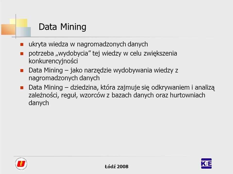 Łódź 2008 Data Mining ukryta wiedza w nagromadzonych danych potrzeba wydobycia tej wiedzy w celu zwiększenia konkurencyjności Data Mining – jako narzę