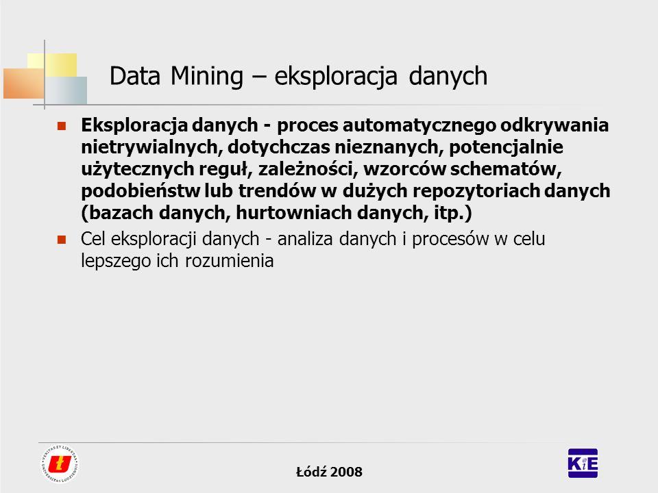 Łódź 2008 Data Mining – eksploracja danych Eksploracja danych - proces automatycznego odkrywania nietrywialnych, dotychczas nieznanych, potencjalnie u