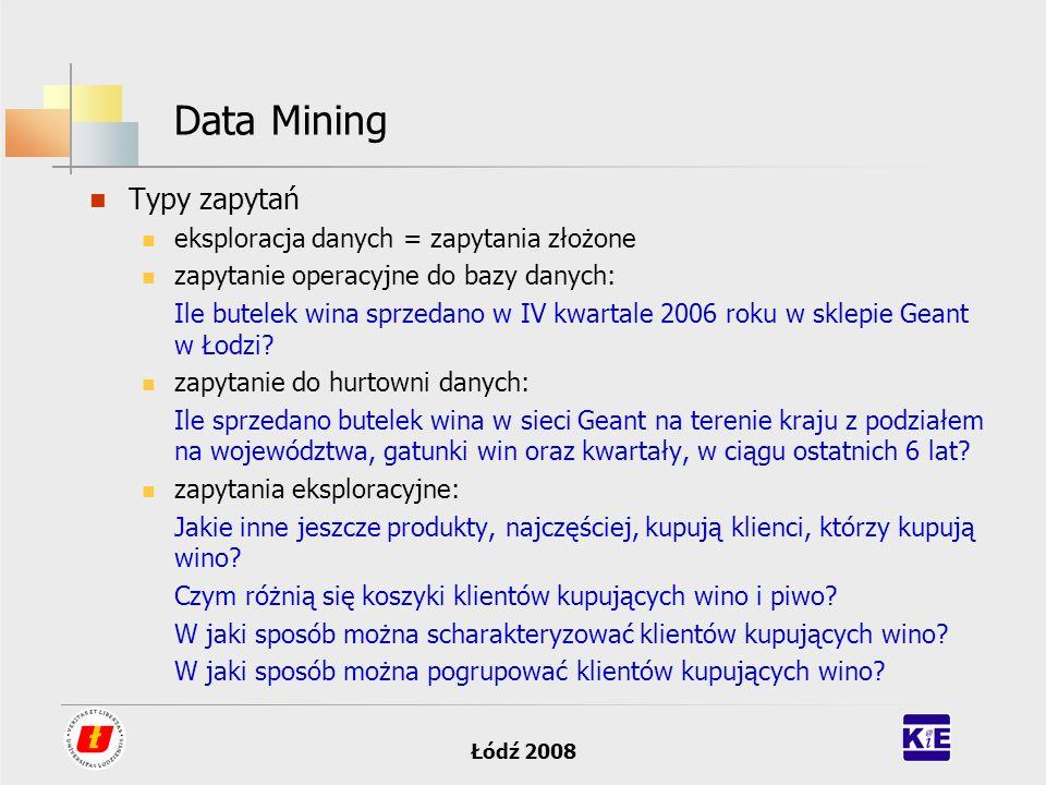 Łódź 2008 Data Mining Typy zapytań eksploracja danych = zapytania złożone zapytanie operacyjne do bazy danych: Ile butelek wina sprzedano w IV kwartal