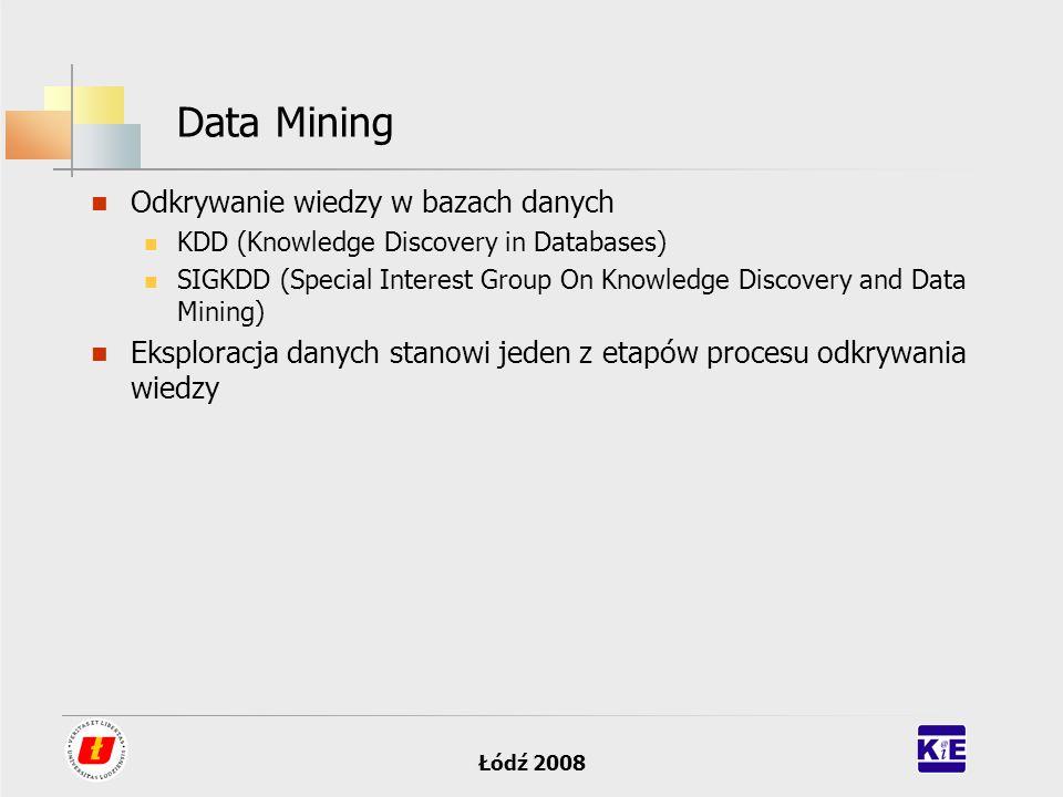 Łódź 2008 Data Mining Odkrywanie wiedzy w bazach danych KDD (Knowledge Discovery in Databases) SIGKDD (Special Interest Group On Knowledge Discovery a
