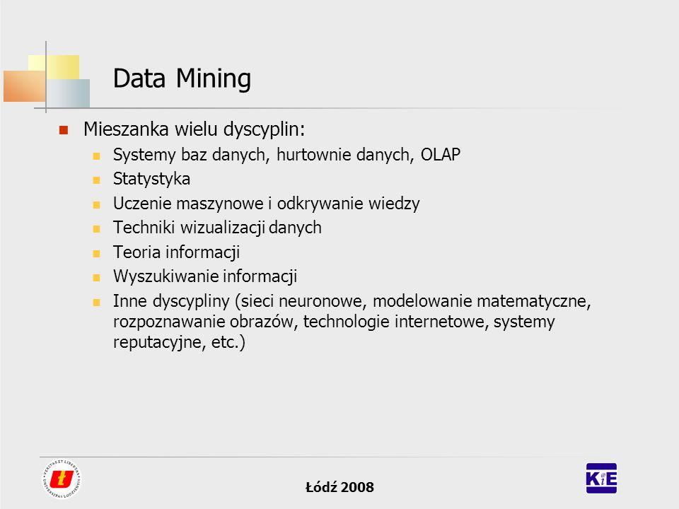 Łódź 2008 Data Mining Mieszanka wielu dyscyplin: Systemy baz danych, hurtownie danych, OLAP Statystyka Uczenie maszynowe i odkrywanie wiedzy Techniki