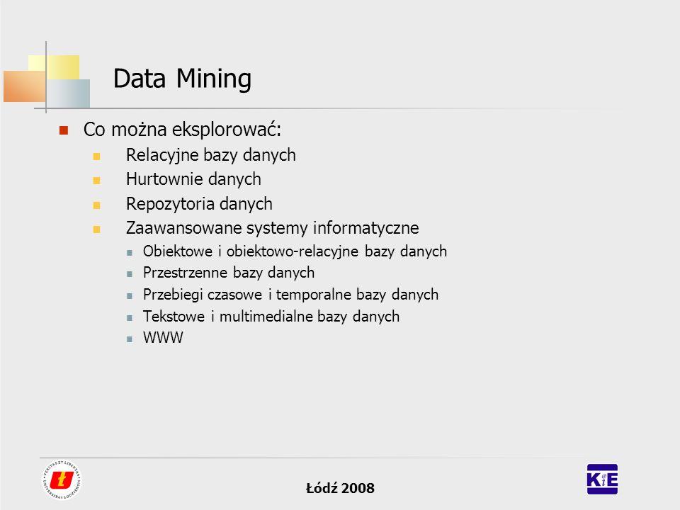 Łódź 2008 Data Mining Co można eksplorować: Relacyjne bazy danych Hurtownie danych Repozytoria danych Zaawansowane systemy informatyczne Obiektowe i o