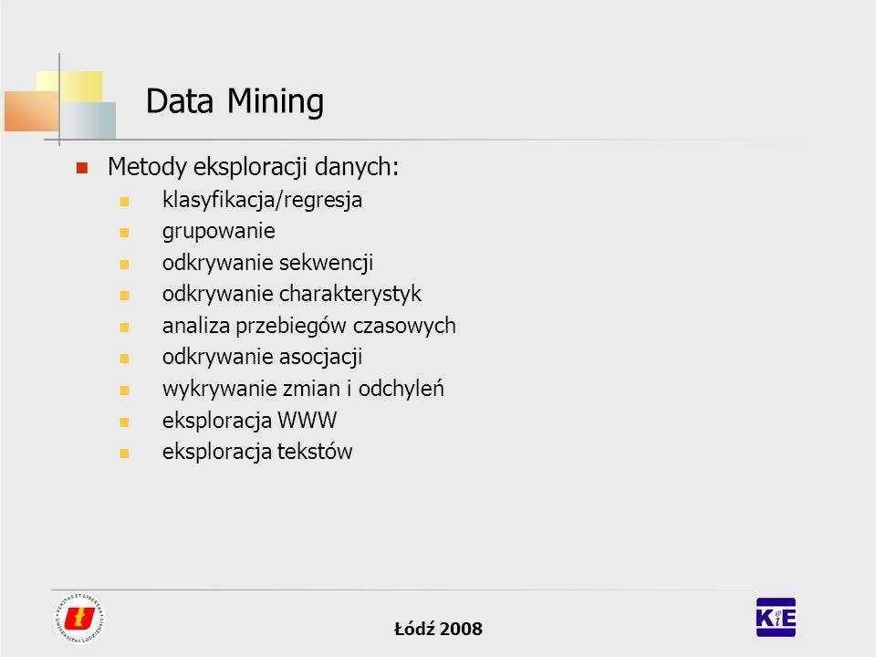 Łódź 2008 Data Mining Metody eksploracji danych: klasyfikacja/regresja grupowanie odkrywanie sekwencji odkrywanie charakterystyk analiza przebiegów cz