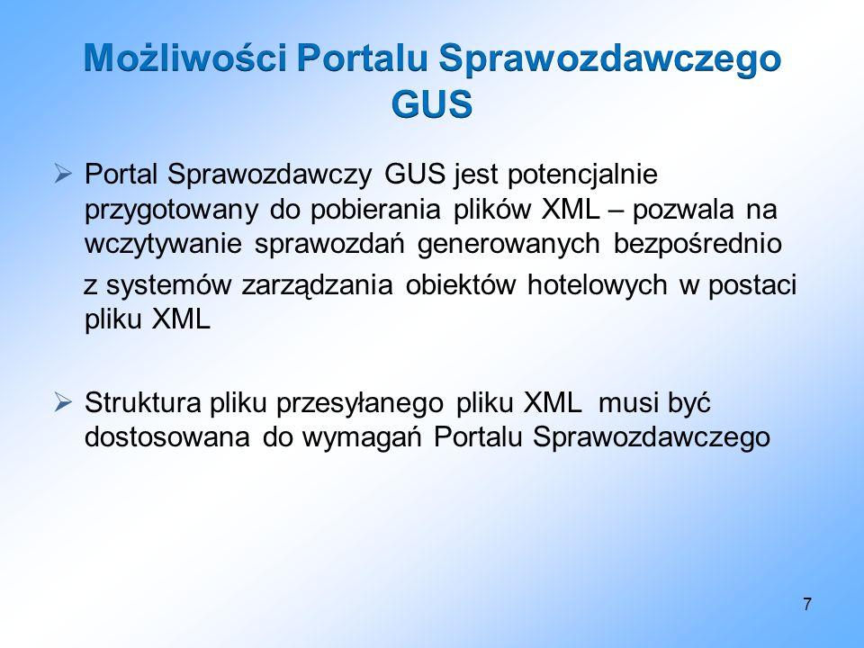 Portal Sprawozdawczy GUS jest potencjalnie przygotowany do pobierania plików XML – pozwala na wczytywanie sprawozdań generowanych bezpośrednio z syste