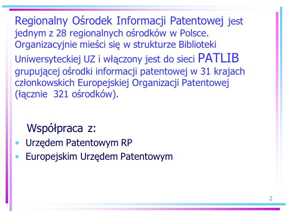2 Regionalny Ośrodek Informacji Patentowej jest jednym z 28 regionalnych ośrodków w Polsce. Organizacyjnie mieści się w strukturze Biblioteki Uniwersy