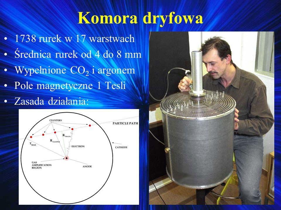 Komora dryfowa 1738 rurek w 17 warstwach Średnica rurek od 4 do 8 mm Wypełnione CO 2 i argonem Pole magnetyczne 1 Tesli Zasada działania: