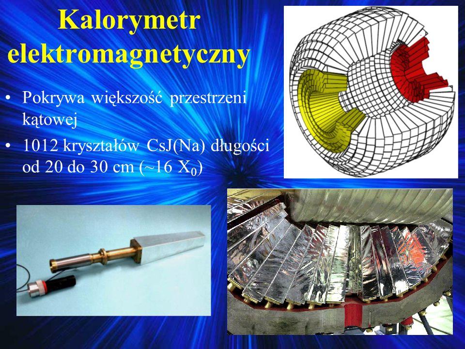 Kalorymetr elektromagnetyczny Pokrywa większość przestrzeni kątowej 1012 kryształów CsJ(Na) długości od 20 do 30 cm (~16 X 0 )