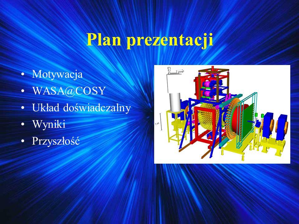 Zebrane dane i system wyzwalania Dane zbierano jesienią 2008 w reakcji pppp przy energii 1,4 GeV W ciągu dwutygodniowego eksperymentu zebrano około 150 milionów wszystkich przypadków System wyzwalania (tryger) wykorzystywał specyfikę reakcji i wymagał dużego depozytu energii w obu połówkach detektora Działa on bardzo podobnie dla każdego z rozpadów leptonowych Ilustracja działania trygera