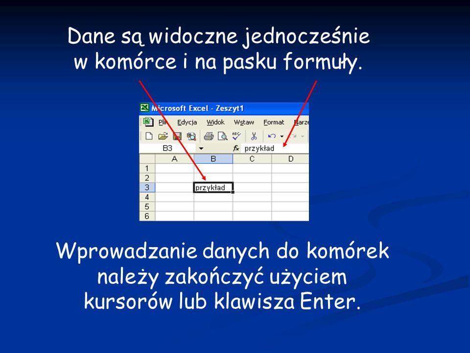 Wprowadzanie danych do komórek należy zakończyć użyciem kursorów lub klawisza Enter. Dane są widoczne jednocześnie w komórce i na pasku formuły.