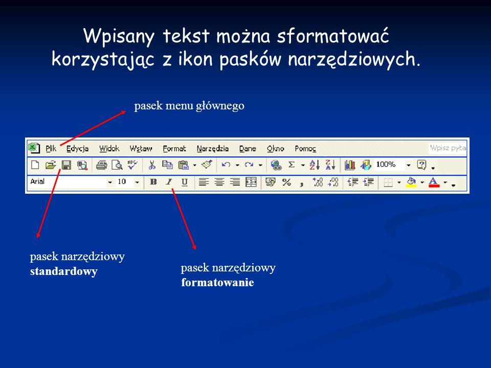 Wpisany tekst można sformatować korzystając z ikon pasków narzędziowych. pasek menu głównego pasek narzędziowy standardowy pasek narzędziowy formatowa