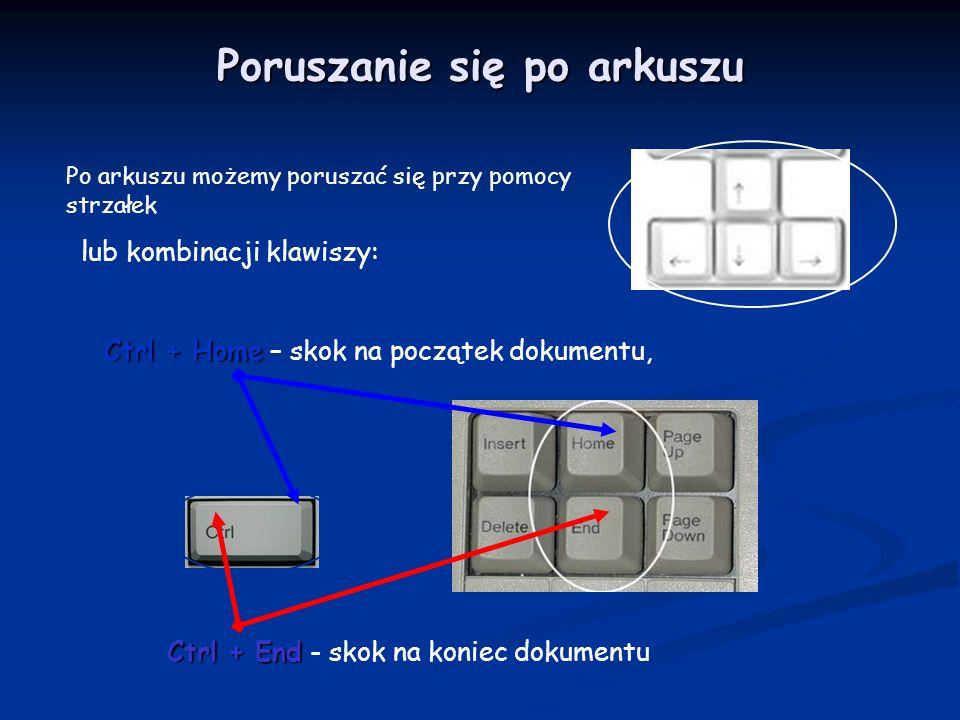 Po arkuszu możemy poruszać się przy pomocy strzałek lub kombinacji klawiszy: Ctrl + End Ctrl + End - skok na koniec dokumentu Ctrl + Home Ctrl + Home – skok na początek dokumentu, Poruszanie się po arkuszu