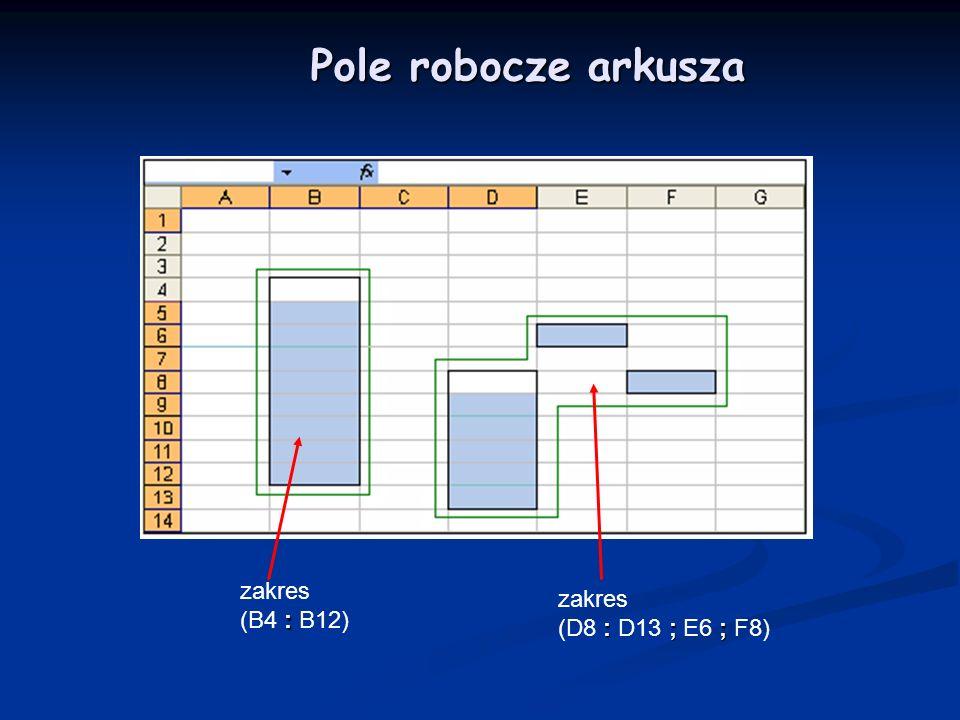 Pole robocze arkusza : zakres (B4 : B12) : ; ; zakres (D8 : D13 ; E6 ; F8)