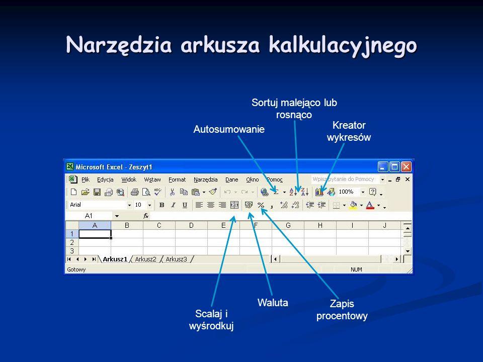 Autosumowanie Sortuj malejąco lub rosnąco Kreator wykresów Scalaj i wyśrodkuj Waluta Zapis procentowy Narzędzia arkusza kalkulacyjnego