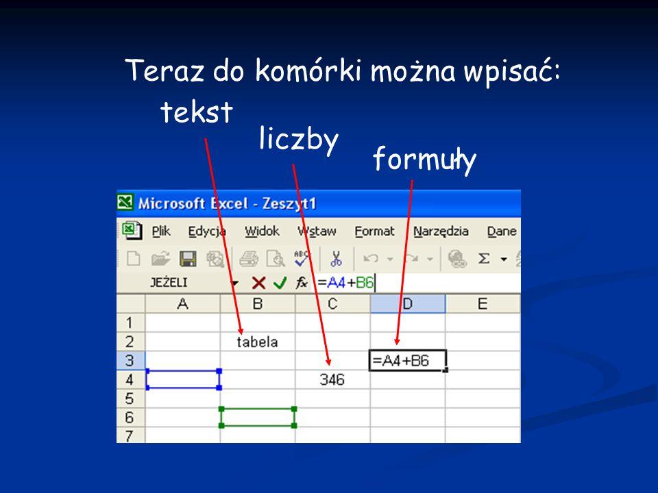 Teraz do komórki można wpisać: tekst liczby formuły