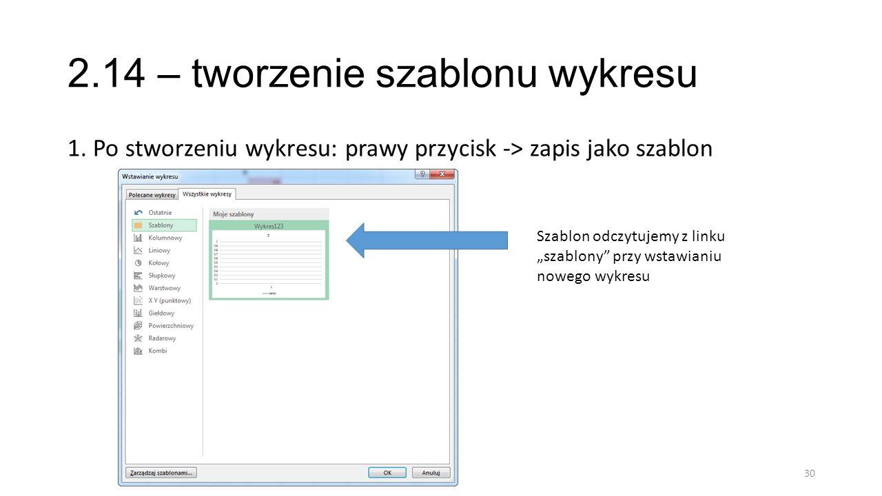 2.14 – tworzenie szablonu wykresu 1. Po stworzeniu wykresu: prawy przycisk -> zapis jako szablon 30 Szablon odczytujemy z linku szablony przy wstawian