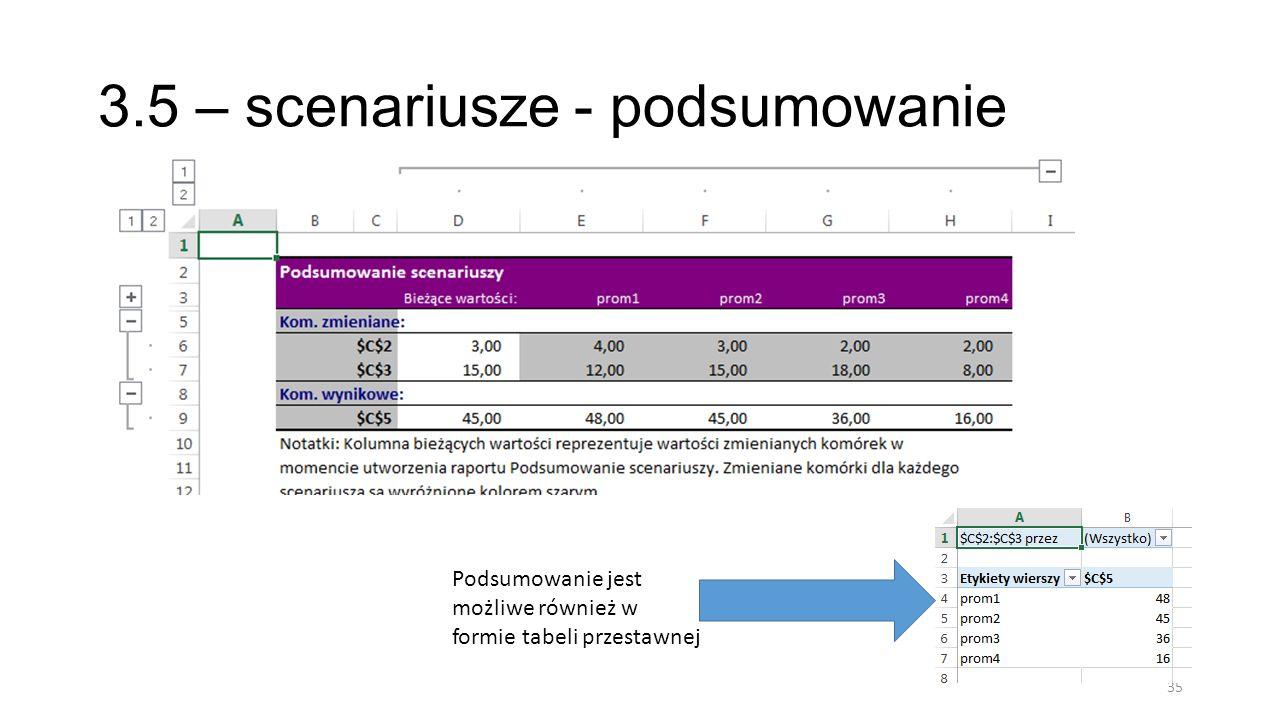 3.5 – scenariusze - podsumowanie 35 Podsumowanie jest możliwe również w formie tabeli przestawnej