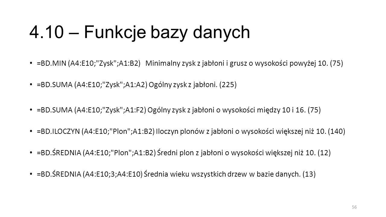 4.10 – Funkcje bazy danych =BD.MIN (A4:E10;