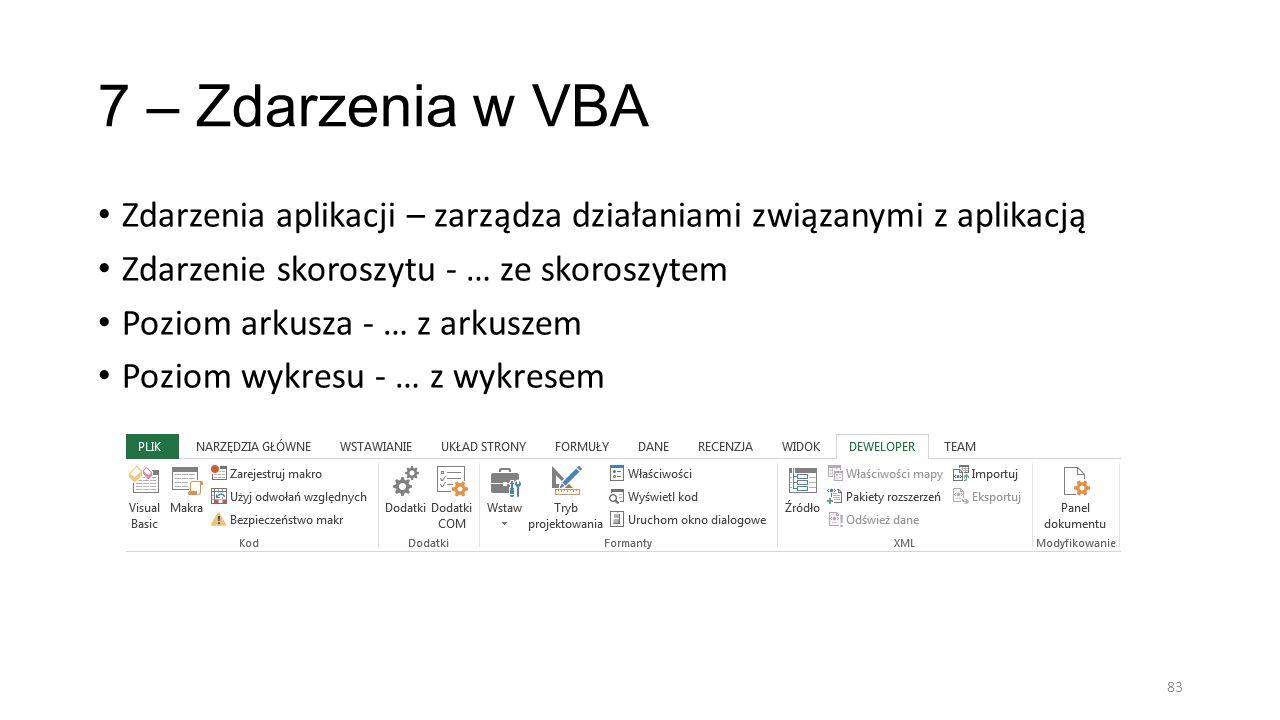 7 – Zdarzenia w VBA Zdarzenia aplikacji – zarządza działaniami związanymi z aplikacją Zdarzenie skoroszytu - … ze skoroszytem Poziom arkusza - … z ark