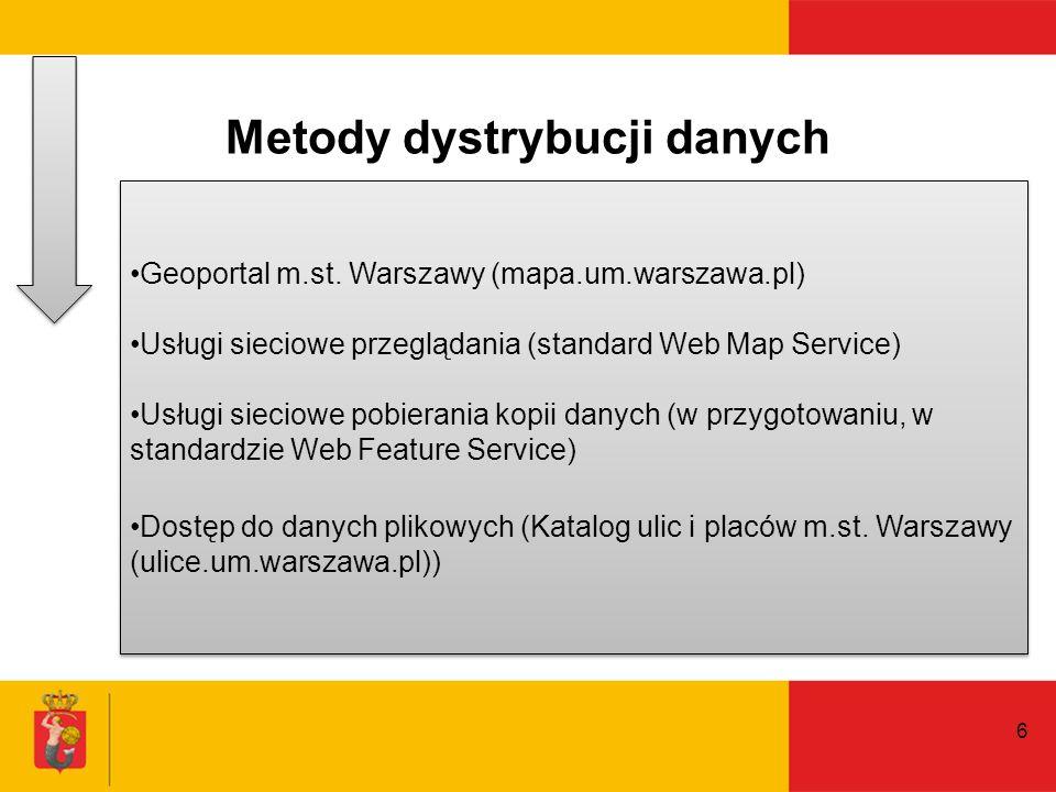 Metody dystrybucji danych 6 Geoportal m.st. Warszawy (mapa.um.warszawa.pl) Usługi sieciowe przeglądania (standard Web Map Service) Usługi sieciowe pob